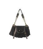 ピサロ PISARO ハンドバッグ パーティーバッグ フェイクレザー 黒 ブラック ゴールドチェーン 鞄