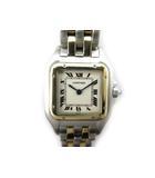 カルティエ Cartier 腕時計 ウォッチ パンテールSM 2ロウ コンビ YG/SS イエローゴールド スクエア クォーツ ローマ文字盤 美品 箱付き