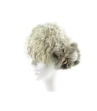キャセリーニ ファイブ アベニュー casselini five avenue ニットキャップ フェイクファー コサージュ オフホワイト アイボリー グレー 帽子 美品