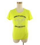エレッセ ellesse Tシャツ 半袖 プリント ロゴ 蛍光イエロー 黄色 ポリエステル M テニス ウエア