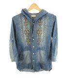 イロコイ iroquois シャツ 七分袖 半袖 袖調節可能 シャンブレー フード 刺繍 インディゴブルー コットン 1
