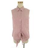 キャサリンロス KATHARINE ROSS ノースリーブシャツ ブラウス ストライプ 赤 レッド 白 ホワイト コットン 麻 リネン M