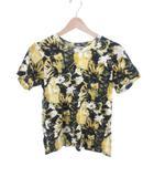 トーガ TOGA ヴィリリース VIRILIS 半袖 Tシャツ 花刺 フラワー コットン 黄色 イエロー 黒 ブラック 44 美品