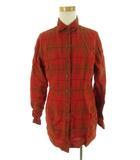 ポールスミス PAUL SMITH WOMAN ウーマン 長袖 シャツ チェック リネン 麻 レッド 赤 ブラウン 茶 40