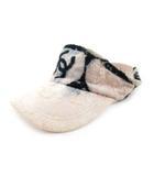 シャネル CHANEL サンバイザー パイル地 ココマーク 柄 ピンク 黒 ブラック ブラック コットン 帽子