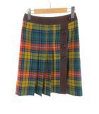 ザ スコッチ ハウス The Scotch House ひざ丈 スカート ギャザー チェック ウール 赤 レッド 黄 イエロー 青 ブルー 36
