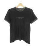 カルバンクライン CALVIN KLEIN 半袖 Tシャツ ロゴ トリム 黒 ブラック グレー コットン M 美品