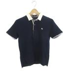 バーバリーブラックレーベル BURBERRY BLACK LABEL ポロシャツ 半袖 鹿の子 フェイクレイヤード 紺 ネイビー 白 ホワイト コットン 2 国内正規品 三陽商会