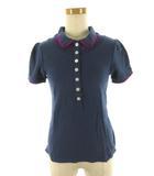 マークジェイコブス MARC JACOBS ポロシャツ 半袖 ロゴ 刺繍 紺 ネイビー 紫 パープル コットン S 国内正規品 ルック