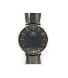 ダニエルウェリントン DANIEL WELLINGTON 腕時計 ウォッチ クォーツ アナログ 革ベルト クロコ型押し 38mm 黒 ブラック ゴールド 茶 ブラウン 美品