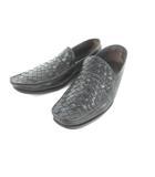 ボッテガヴェネタ BOTTEGA VENETA ローファー スリッポン イントレチャート スクエアトゥ カーフレザー 黒 ブラック 38 約24.5cm 革靴