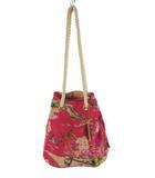 ビームス BEAMS 巾着袋  ハンドバッグ アロハ ビーチ 総柄 ピンク ベージュ キャンバス 鞄