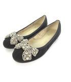 ブリジットバーキン Bridget Birkin サテンビジュー フラットシューズ  パンプス 装飾 リボン 23 1/2 黒 ブラック 靴