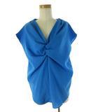 グーコミューン gout commun 半袖 シャツ ブラウス Vネック フリル 青 ブルー 38 美品 トップス