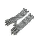 B&Y ユナイテッドアローズ BEAUTY&YOUTH ビューティー&ユース 手袋 ロング リボン ウール フェイクレザー グレー 小物 全長40cm