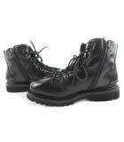 ブッテロ BUTTERO マウンテンブーツ トレッキングブーツ ボア レザー サイドジップアップ B496 39 約25cm 黒 ブラック 革靴