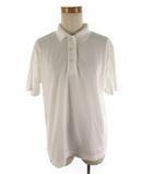レオナールスポーツ LEONARD SPORT ポロシャツ 半袖 ロゴ刺繍 白 ホワイト コットン M トップス