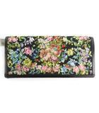 銀座・和光 WAKO ワコー 長財布 ウォレット 花柄 フラワー 黒 ブラック マルチカラー キャンバス レザー 小物