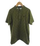 ナリフリ nari/furi FRED PERRY フレッドペリー ポロシャツ 半袖 ドット柄 水玉 カーキ 緑 グリーン L トップス サイクリング 自転車 美品