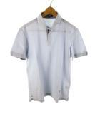 ポールスチュアート PAUL STUART ポロシャツ 半袖 ボーダー  鹿の子 刺繍 青 ブルー 白 ホワイト コットン LL トップス 美品 三陽商会