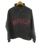 シュプリーム SUPREME Arc Logo Quilted Half Zip ブルゾン ジャケット ロゴ キルティング ハーフジップ プルオーバー 裏地フリース 黒 ブラック ピンク M アウター ワングラム 美品
