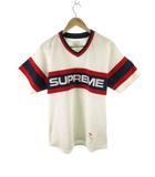 シュプリーム SUPREME Tシャツ 半袖 ゲームシャツ Vネック ロゴ 刺繍 白 ホワイト 赤 レッド 紺 ネイビー M トップス ワングラム