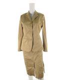 ラルフローレン RALPH LAUREN スーツ セットアップ 上下 ジャケット テーラード スカート ロング 総裏 3B ベージュ コットン 11号