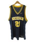 ナイキ NIKE ゲームシャツ ユニフォーム バスケットボール ミシガン MICHIGAN NBA 紺 ネイビー 黄色 イエロー 21 大きめ XXL トップス