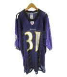 リーボック Reebok ユニフォーム ゲームシャツ NFL アメフト RAVENS 31 J.LEWIS 白 ホワイト 紫 パープル XL