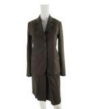 セオリー theory スーツ セットアップ 上下 テーラード ジャケット スカート ロング 総裏 3B 茶 ブラウン ウール 0