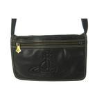 ヴィヴィアンウエストウッド Vivienne Westwood ショルダーバッグ 斜め掛け サコッシュ オーブ 型押し レザー キャンバス 黒 ブラック 鞄