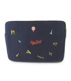 MOOSE FREE SOUL ドキュメントケース クラッチバッグ セカンド 刺繍 ロゴ キャンバス 紺 ネイビー オレンジ PC タブレット 鞄