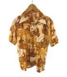 ザリアルマッコイズ THE REAL McCOY'S 東洋 アロハシャツ 半袖 総柄 バイク バイカー アメカジ オレンジ ブラウン アイボリー レーヨン S トップス