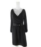 ルビーリベット Rubyrivet ワンピース ロング 長袖 フレアー ベルト 装飾 ビジュー 黒 ブラック 38