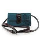 フォリフォリ Folli Follie ショルダーバッグ ウォレット 財布 ポシェット 斜めがけ スタッズ 装飾 ベロア エナメル ワインレッド エメラルドグリーン 鞄