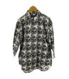 コムデギャルソンオムプリュス COMME des GARCONS HOMME PLUS シャツ 七分袖 スカルオブライフ 花柄 フラワー ブラック 黒 ホワイト 白 S AD2010 PG-B033