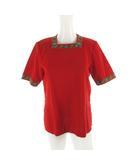 イヴサンローラン YVES SAINT LAURENT 半袖 ニット セーター 花柄 フラワー 赤 レッド コットン M ビンテージ オールド