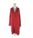 トゥーシー TWO:C シャツ ワンピース ロング 長袖 フレアー ドット 水玉柄 赤 レッド ベージュ