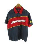 シュプリーム SUPREME ワークシャツ 半袖 Color blocked work shirt ロゴ 刺繍 紺 ネイビー 赤 レッド 黄 イエロー M 18SS