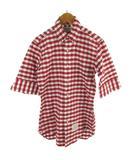 トムブラウン THOM BROWNE シャツ 七分袖 チェック柄 赤 レッド 白 ホワイト 紺 ネイビー A0121A1003トップス 0 (株)クロスインターナショナル