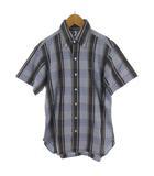 サイ ベーシックス SCYE BASICS シャツ 半袖 チェック柄 ネイビー/ブルー/グレー 紺 青 コットン リネン 麻 36 トップス