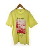 シュプリーム SUPREME Tシャツ 半袖 マドンナ Madonna tee T-shirt ロゴ プリント 黄色 イエロー 赤 レッド コットン M 18AW 美品