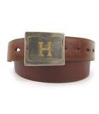 ハリウッドランチマーケット HOLLYWOOD RANCH MARKET ベルト ロゴ バックル スクエア 茶 ブラウン シルバー ゴールド レザー 34/85 小物