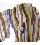 ツモリチサト TSUMORI CHISATO 浴衣 ストライプ 縞 猫模様 キャット マルチカラー 白 ホワイト 紫 パープル 茶 ブラウン 黒 ブラック コットン