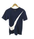 ナイキ NIKE Tシャツ 半袖 ビッグスウォッシュ ロゴ 紺 ネイビー 白 ホワイト コットン S トップス