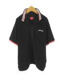 シュプリーム SUPREME シャツ 半袖  ジップアップ ネック ロゴ 刺繍 ライン 黒 ブラック 赤 レッド 白 ホワイト パイル地 コットン  L(株)Supreme