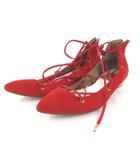 ルタロン Le Talon GRISE グリーズ パンプス フラット レースアップ ポインテッドトゥ バックジップ 赤 レッド 37.5 約24cm 靴