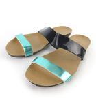 プラクトン PLAKTON サンダル フラット エナメル ネイビー グリーン 紺 緑 37 約23.5cm 靴 スペイン製