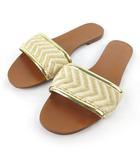 ザラ トラファルック ZARA Trafaluc サンダル フラット キャンバス ゴールド アイボリー 37 約23.5cm 靴
