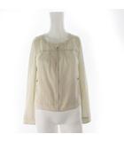 シャツ ジャケット ジップアップ 薄手 アイボリー オフホワイト コットン 2 上着